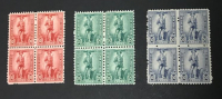 Lot of (3) Vintage 1942 United States War Savings Stamp Blocks of (4) Stamps with #WS7, #WS8 & #WS9 at PristineAuction.com