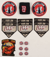 Lot of (16) Pearl Jam Flats With Wristband, Stickers & Pins at PristineAuction.com