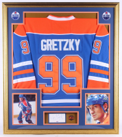 Wayne Gretzky Signed Oilers 33x37 Custom Framed Cut Display with Jersey & 802-Goal Record Pin (PSA COA) at PristineAuction.com