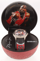 1997 Avon Michael Jordan Leather Strap Watch With Wilson Display Case at PristineAuction.com