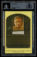 Walter Johnson Authentic Handwritten Word Gold Hall of Fame Postcard (BGS Encapsulated) at PristineAuction.com