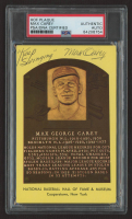 """Max Carey Signed Hall of Fame Plaque Postcard Inscribed """"Keep Swinging"""" (PSA Encapsulated) at PristineAuction.com"""