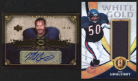 Lot of (2) Mike Singletary Football Cards With 2007 Upper Deck Premier Insignias Autograph Gold #INSI & 2019 Panini Gold Standard White Gold Materials #17 at PristineAuction.com