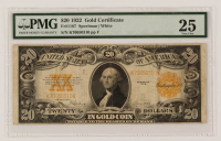 1922 $20 Twenty-Dollar U.S. Gold Certificate Large-Size Bank Note (PMG 25) at PristineAuction.com