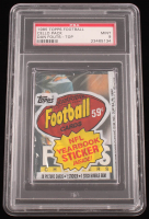1985 Topps Football Factory-Sealed Cello Pack with (28) Cards, (1) Sticker & (1) Stick of Gum with #372 Dan Fouts Cover Card (PSA 9) at PristineAuction.com