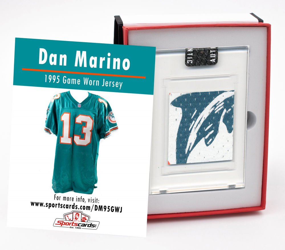 DAN MARINO 1995 MIAMI DOLPHINS GAME WORN JERSEY MYSTERY SWATCH BOX! at PristineAuction.com