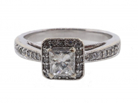 .57ct Princess & Round Diamond Engagement Ring 14kt White Gold (GAL Certified) at PristineAuction.com