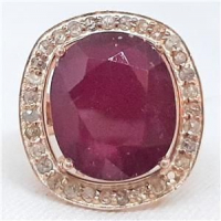 12.90ct Ruby & Diamond Ring (GAL Certified) at PristineAuction.com