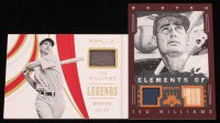 Lot of (2) Ted Williams Memorabilia Cards with 2016 Diamond Kings Elements of Royalty Materials Framed #ERTW & 2019 Immaculate Collection Legends Materials #12 at PristineAuction.com