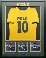 Pele Signed 34.5x42.5 Custom Framed Jersey (Beckett COA) at PristineAuction.com