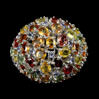 6.40ct Multi-Colored Sapphire, Ruby, & Tanzanite Ring (GAL Certified) at PristineAuction.com