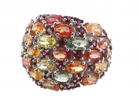 6.40ct Multi-Colored Sapphire & Garnet Ring (GAL Certified) at PristineAuction.com