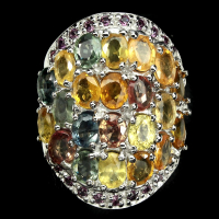 7.70ct Multi-Colored Sapphire & Garnet Ring (GAL Certified) at PristineAuction.com