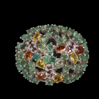 3.60ct Emerald & Multi-Colored Sapphire Ring (GAL Certified) at PristineAuction.com