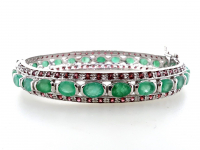 11.00ct Emerald & Garnet Bangle Bracelet (GAL Certified) at PristineAuction.com