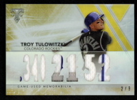 Troy Tulowitzki 2015 Topps Triple Threads Relics Gold #TTRTT1 at PristineAuction.com