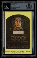 Cy Young Authentic Handwritten Word Gold Hall of Fame Postcard (BGS Encapsulated) at PristineAuction.com
