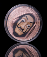 2018 Cook Islands $5 Salvatore Dali 1 oz Silver Money Heist Mask with Red Gold Plating at PristineAuction.com