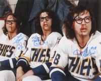 "David Hanson, Jeff Carlson, & Steve Carlson Signed ""Slapshot"" 16x20 Photo (Beckett COA) at PristineAuction.com"