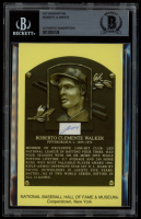 Roberto Clemente Authentic Handwritten Word Gold Hall of Fame Postcard (BGS Encapsulated) at PristineAuction.com