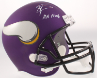 """Stefon Diggs Signed Vikings Matte Purple Full-Size Speed Helmet Inscribed """"MN Miracle"""" (Beckett COA) at PristineAuction.com"""