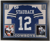 Roger Staubach Signed Cowboys 35x43 Custom Framed Jersey (JSA COA) (Imperfect) at PristineAuction.com