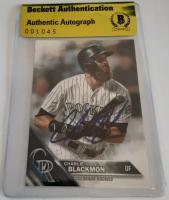 Charlie Blackmon Signed 2016 Topps #93 Baseball Card (Beckett Encapsulated) at PristineAuction.com