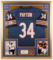 Walter Payton Signed Bears 32x36 Custom Framed Cut Display With Jersey, (2) 8x10 Photos & A Super Bowl XX Pin (PSA) at PristineAuction.com