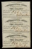 Lot of (3) Uncut 1861 $2 Two Dollar Confederate States of America Richmond CSA Bank Note Bonds at PristineAuction.com
