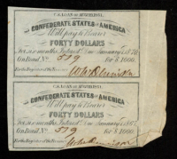 Lot of (2) Uncut 1861 $40 Forty Dollar Confederate States of America Richmond CSA Bank Note Bonds at PristineAuction.com