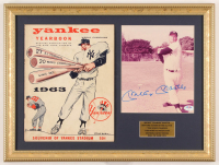 Mickey Mantle Signed Yankees 15x20 Custom Framed Photo Display With 1963 Original Yankees Stadium Yearbook (PSA LOA) at PristineAuction.com