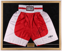 Mike Tyson Signed 26x32 Custom Framed Boxing Trunks Display (PSA COA) at PristineAuction.com