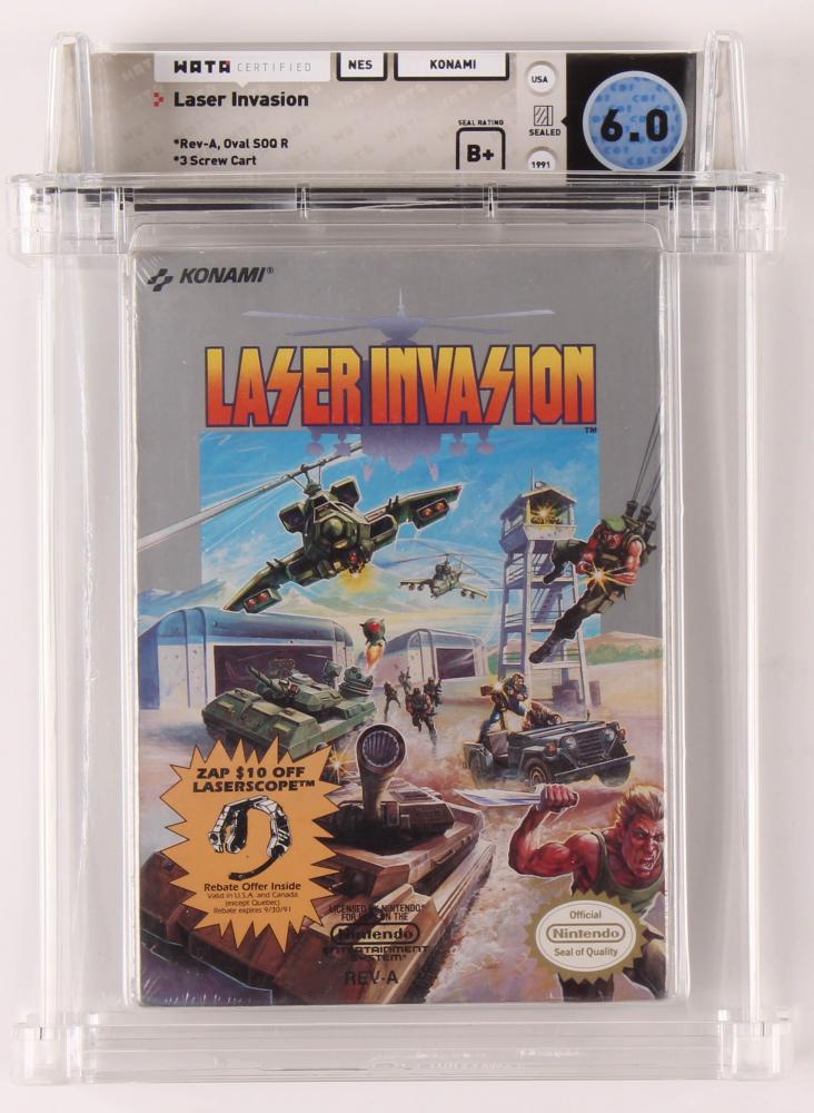 "1991 ""Laser Invasion"" Nintendo Video Game (WATA 6.0) at PristineAuction.com"