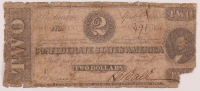 1863 $2 Two Dollars Confederate States of America Richmond CSA Bank Note Bill at PristineAuction.com