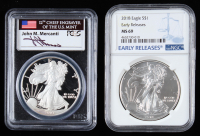 Lot of (2) Graded American Silver Eagle $1 One Dollar Coins with 2018 Early Releases (NGC MS69) & 2007-W (PCGS PR69DCAM) at PristineAuction.com