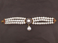 White Pearl & 3.00ct Tanzanite & Ruby Bracelet (GAL Certified) at PristineAuction.com