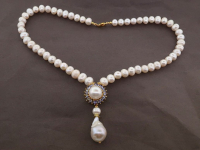 White Pearl & 1.50ct Tanzanite Necklace (GAL Certified) at PristineAuction.com