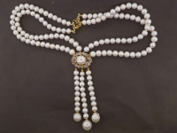 White Pearl & 3.00ct Tanzanite Necklace (GAL Certified) at PristineAuction.com