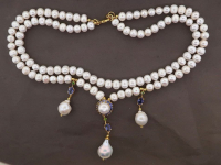 White Pearl & 6.15ct Tanzanite & Green Garnet Necklace (GAL Certified) at PristineAuction.com
