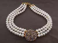 White Pearl & 7.00ct Tanzanite Necklace (GAL Certified) at PristineAuction.com