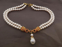 White Pearl & 3.20ct Ruby & Green Garnet Panther Necklace (GAL Certified) at PristineAuction.com