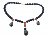 Black Pearl & 3.00ct Ruby Necklace (GAL Certified) at PristineAuction.com