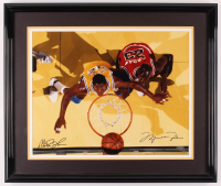 Magic Johnson & Michael Jordan Signed 22x26 Custom Framed Photo Display (UDA COA) at PristineAuction.com