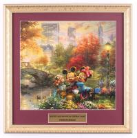 "Thomas Kinkade Walt Disney's ""Mickey & Minnie Mouse in Central Park"" 13.5x15.5 Custom Framed Print Display at PristineAuction.com"