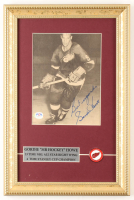 """Gordie Howe Signed Red Wings 10x15 Custom Framed Photo Display Inscribed """"Best Regards"""" with Vintage Red Wings Pin (PSA COA) at PristineAuction.com"""