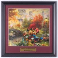 "Thomas Kinkade Walt Disney's ""Mickey & Minnie Mouse in Central Park"" 15.75x15.75 Custom Framed Print Display at PristineAuction.com"