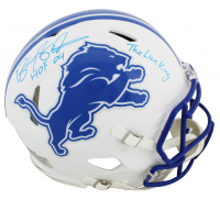 "Barry Sanders Signed Lions Matte White Speed Full-Size Authentic On-Field Helmet Inscribed ""HOF 04"" & ""The Lion King"" (Beckett COA) at PristineAuction.com"