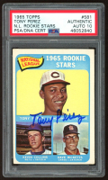 Tony Perez Signed 1965 Topps #581 Rookie Stars Tony Perez RC / Dave Ricketts RC / Kevin Collins RC SP (PSA Encapsulated) at PristineAuction.com