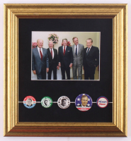 Former US Presidents 12x13 Custom Framed Photo Display with (5) Original Vintage Campaign Pins at PristineAuction.com