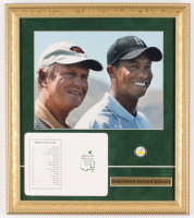 Tiger Woods & Jack Nicklaus 14x16 Custom Framed Photo Display with Official Augusta National Scorecard & Masters Tournament Ball Marker at PristineAuction.com